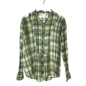 Free People Cotton Plaid Lightweight Button Down